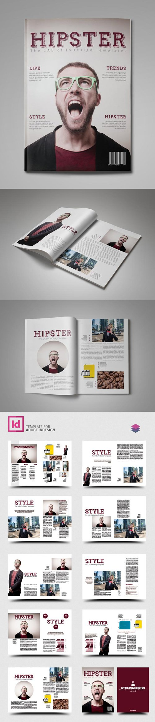 Hipster - PRO Magazine Indesign Template [IDML]