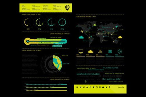 infographics element with Vector GUI Template #6