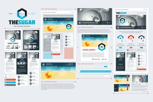 infographics element with Vector GUI Template #10