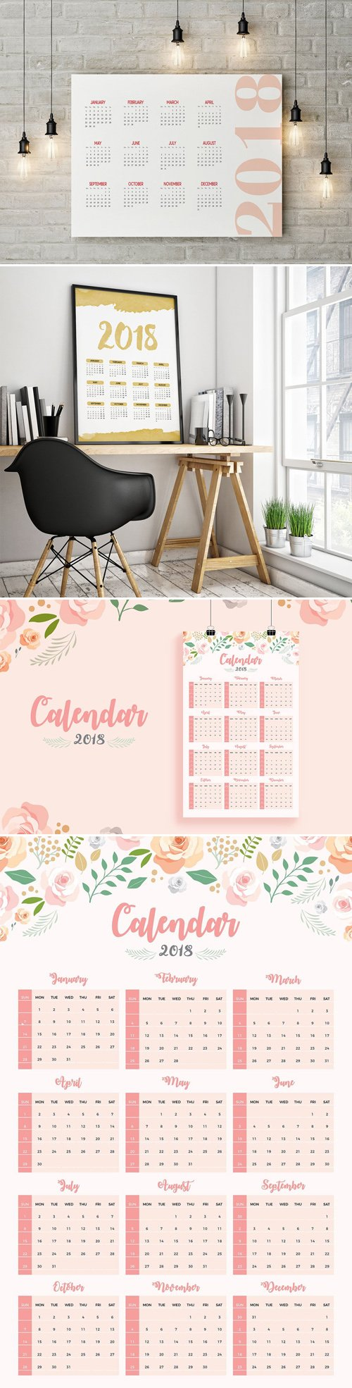 2018 Printable Wall Calendar Templates