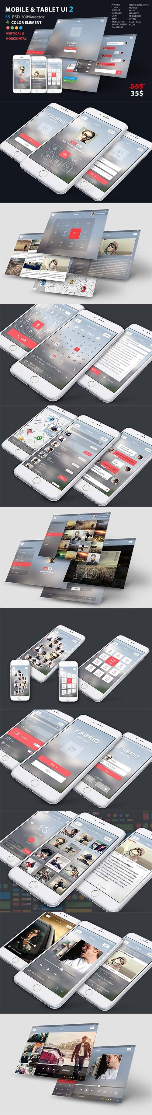 Mobile and Tablet UX UI kit 2 - CM 1966000