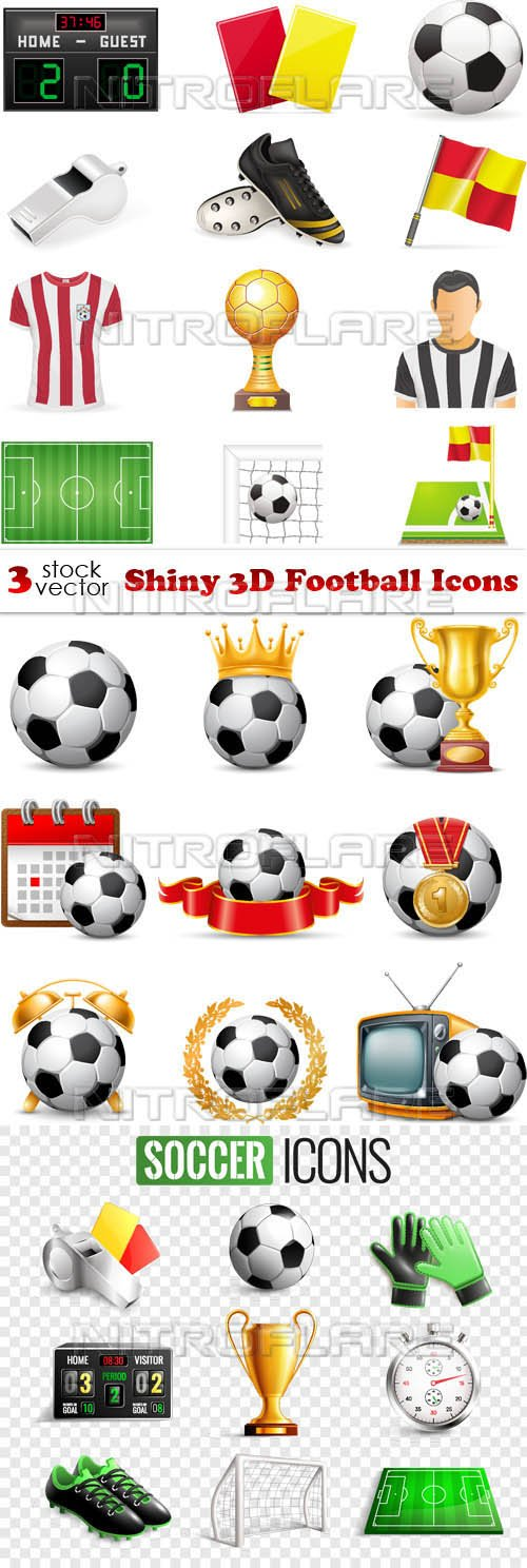 Vectors - Shiny 3D Football Icons