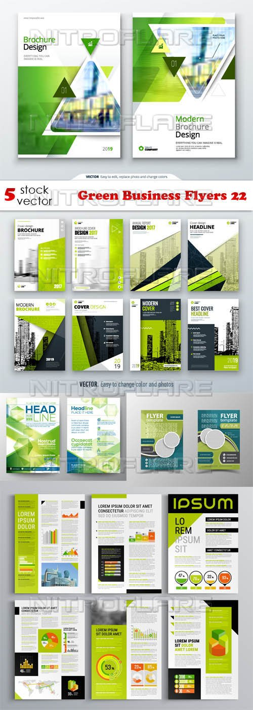 Vectors - Green Business Flyers 22