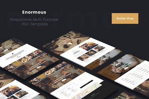 Enormous Barbers & Hair Salons PSD Template