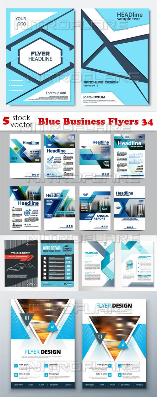 Vectors - Blue Business Flyers 34