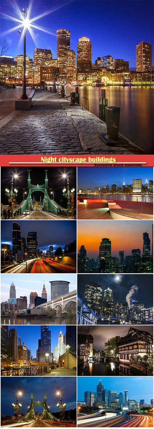 Night cityscape buildings