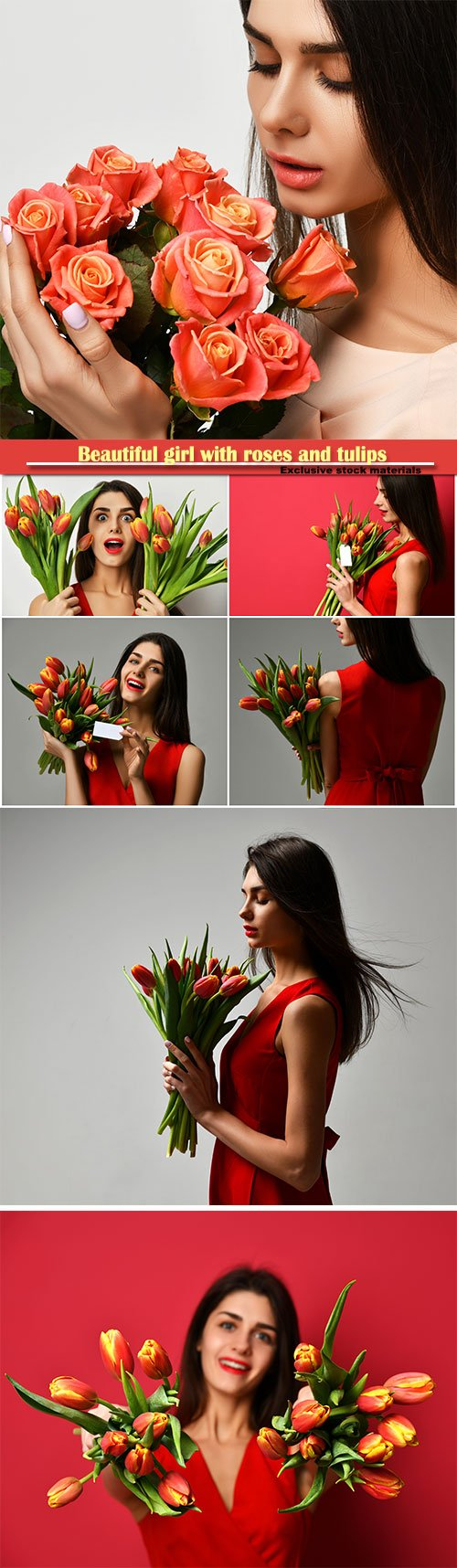 Beautiful girl with roses and tulips