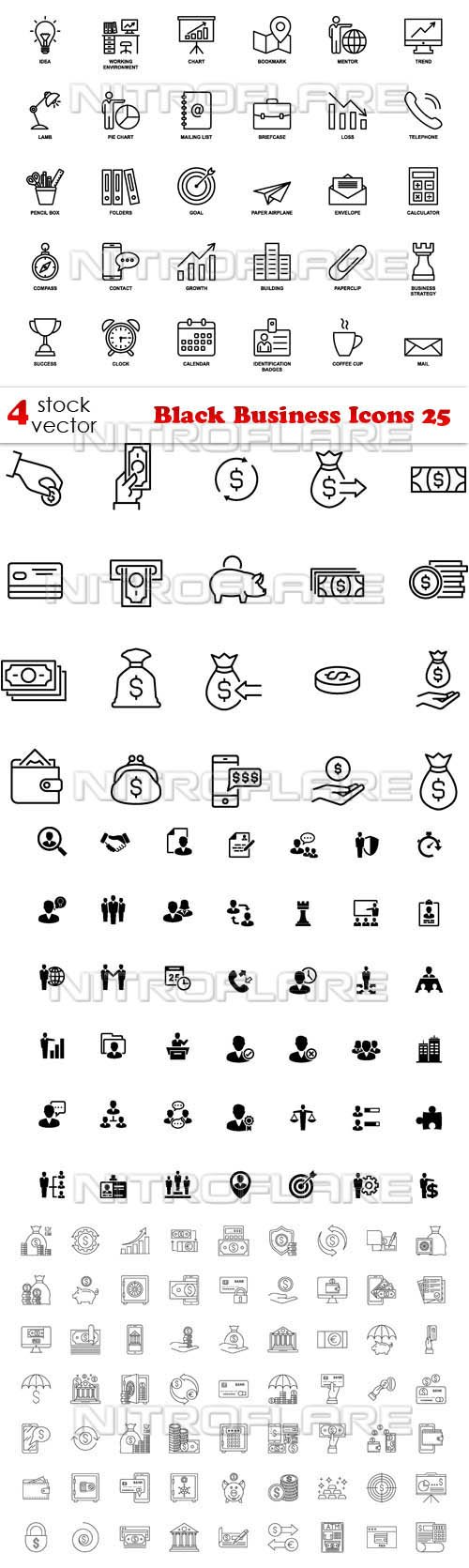 Vectors - Black Business Icons 25