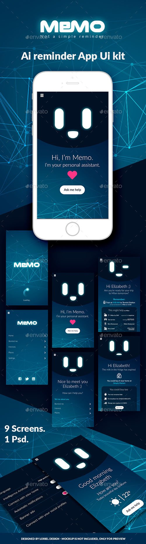 Memo - Mobile AI Reminder App Ui kit 21297734