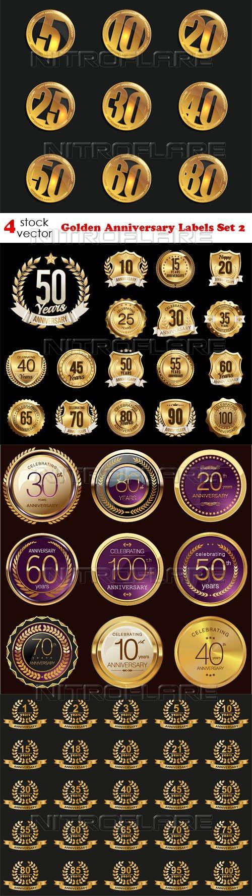 Vectors - Golden Anniversary Labels Set 2