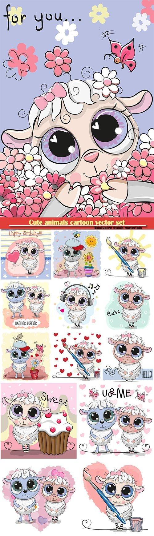 Cute sheep cartoon vector set