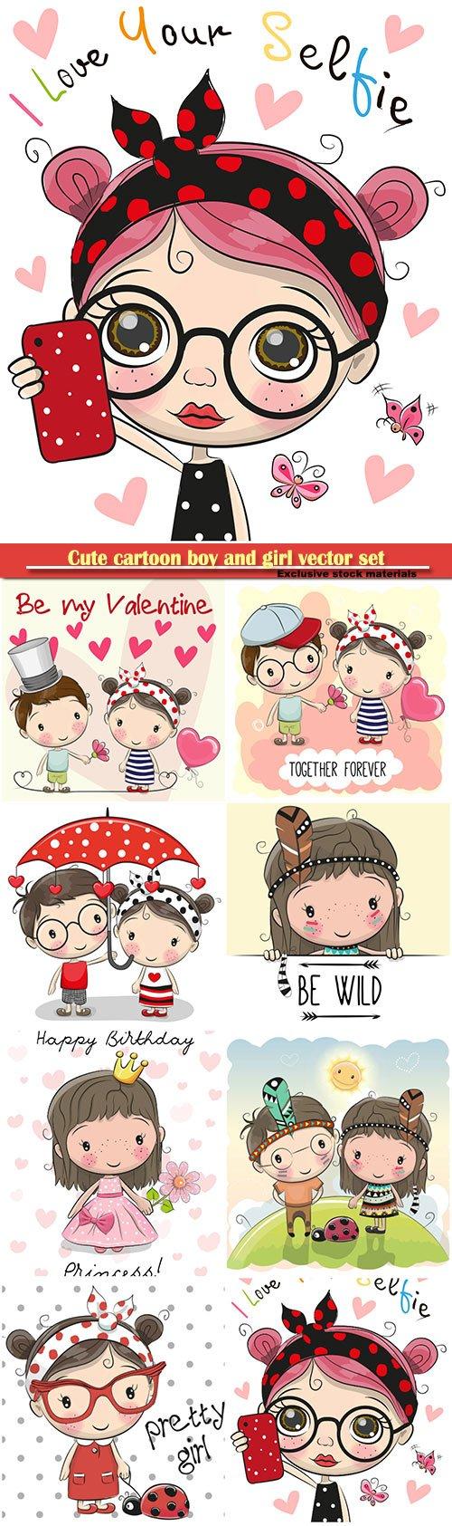 Cute cartoon boy and girl vector set