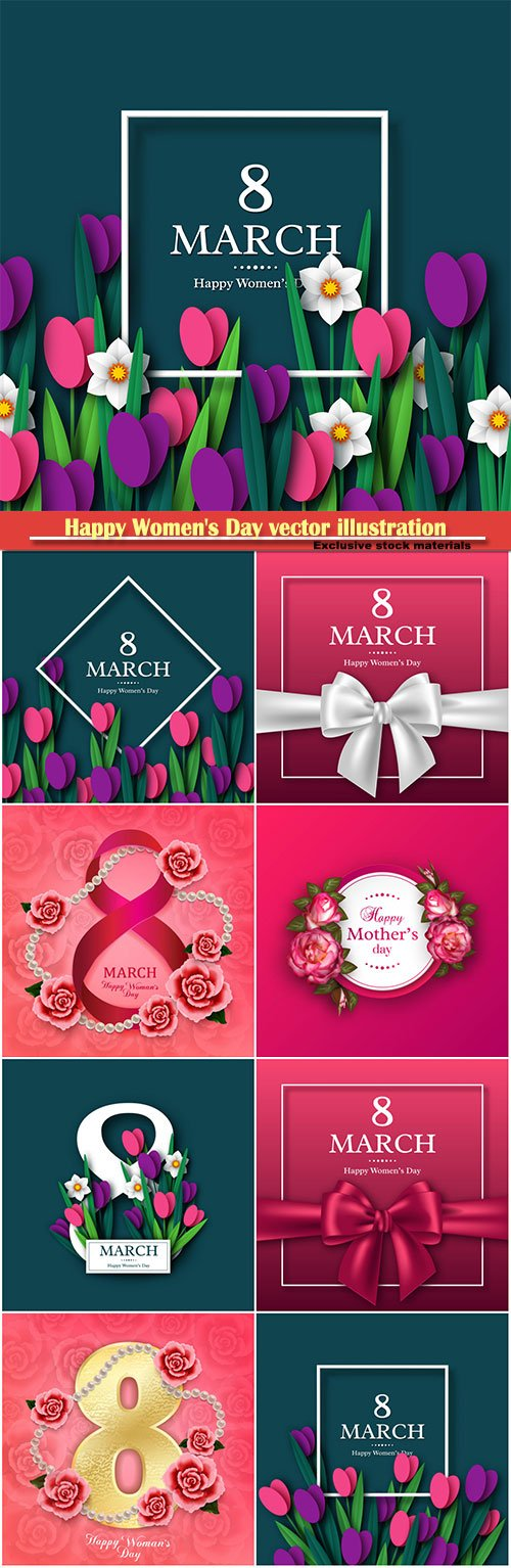 Happy Women's Day vector illustration,8 March, spring flower background