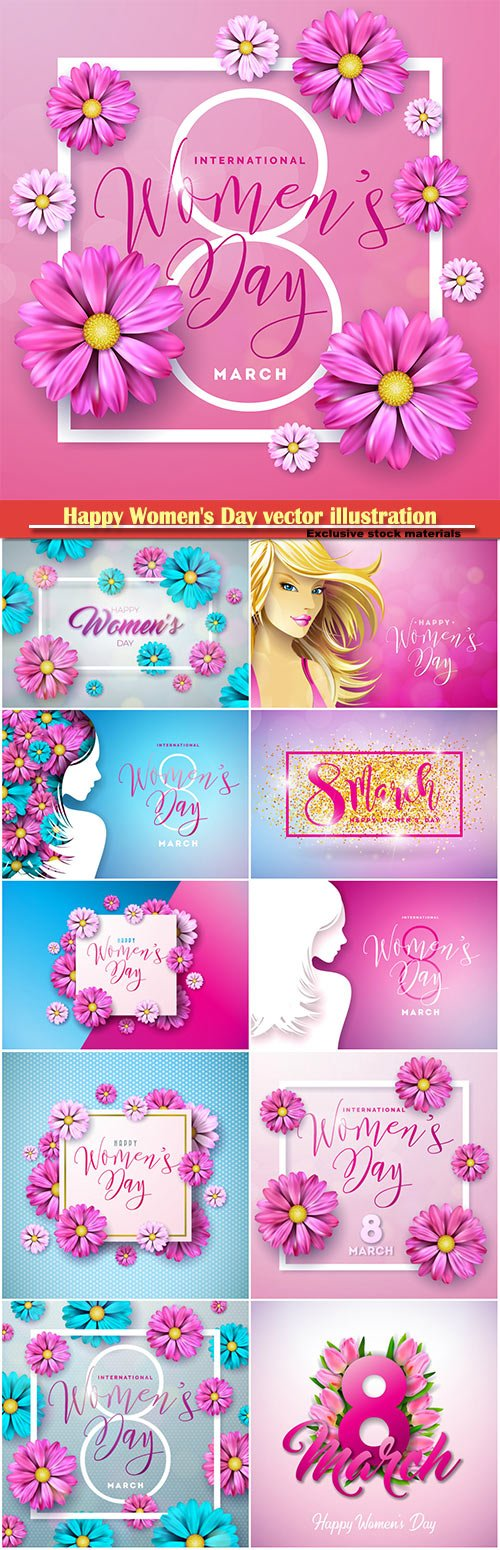 Happy Women's Day vector illustration,8 March, spring flower background # 5