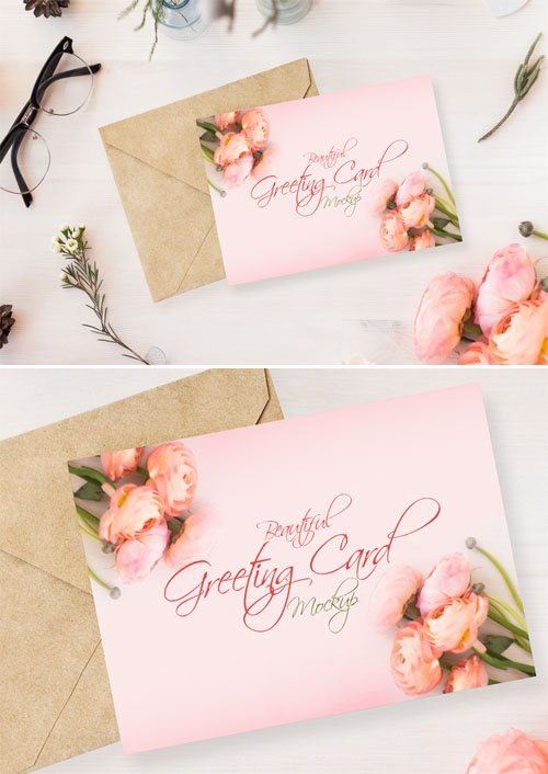 Beautiful Greeting Card PSD MockUp