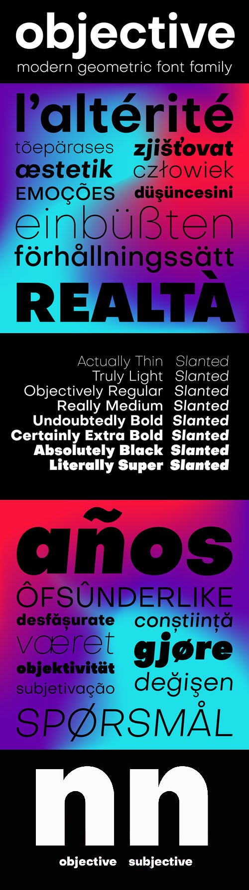 Objective Font Family (8 Weights)