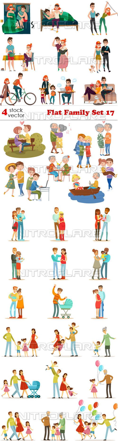 Vectors - Flat Family Set 17