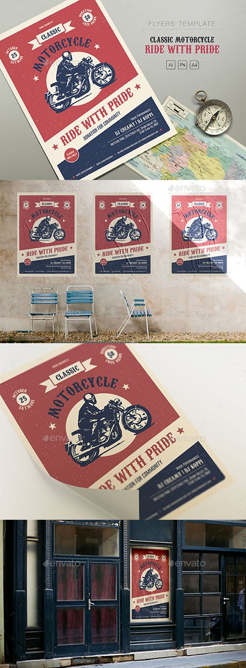 Classic Motorcycle - Ride with Pride Flyers 21417841