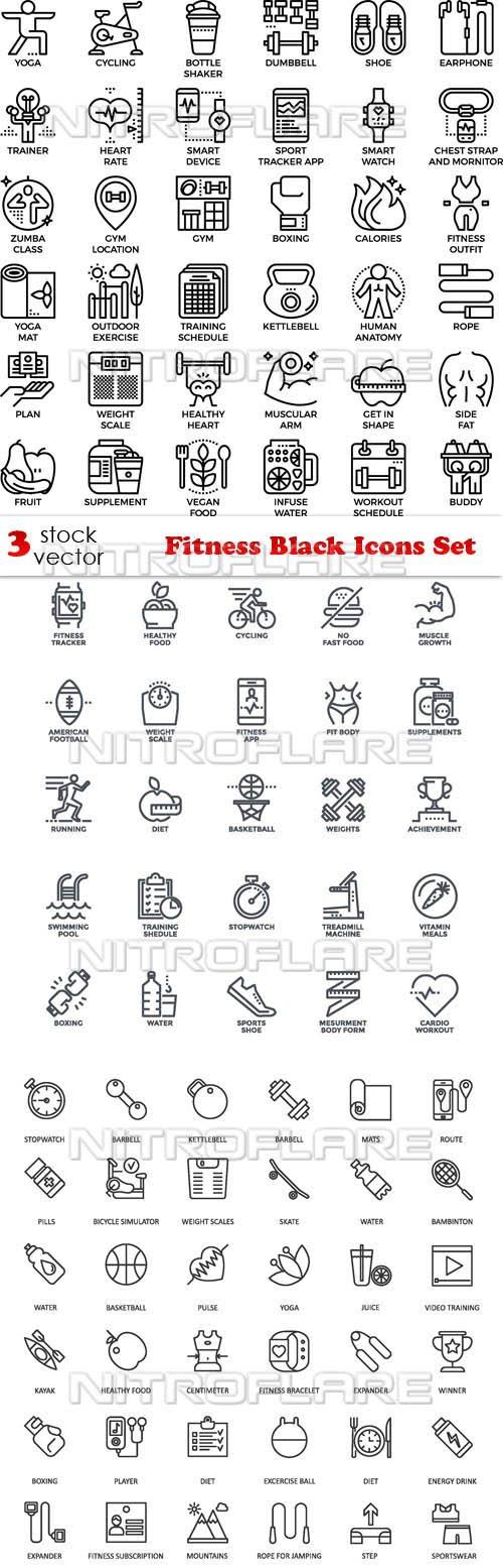 Vectors - Fitness Black Icons Set