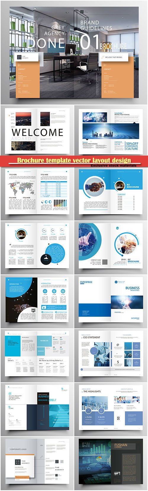 Brochure template vector layout design, corporate business annual report, magazine, flyer mockup # 131