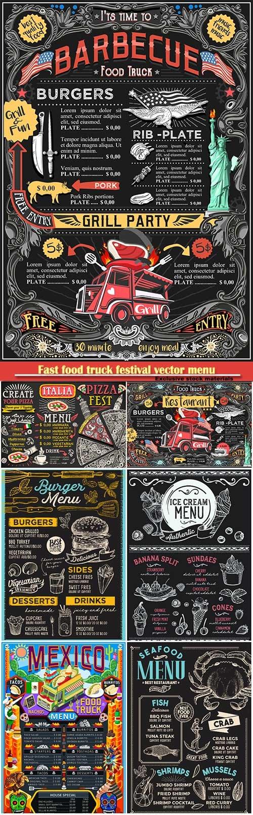 Fast food truck festival vector menu, BBQ grill brochure street food poster design