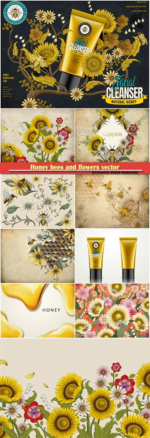Honey bees and flowers vector background, facial cleanser ads