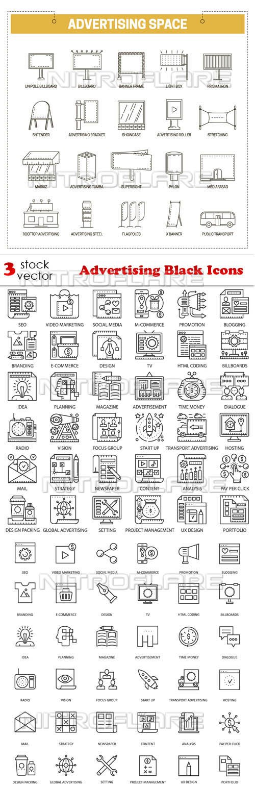 Vectors - Advertising Black Icons