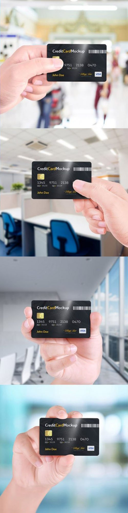 Hand Holding Credit Card PSD Mockups