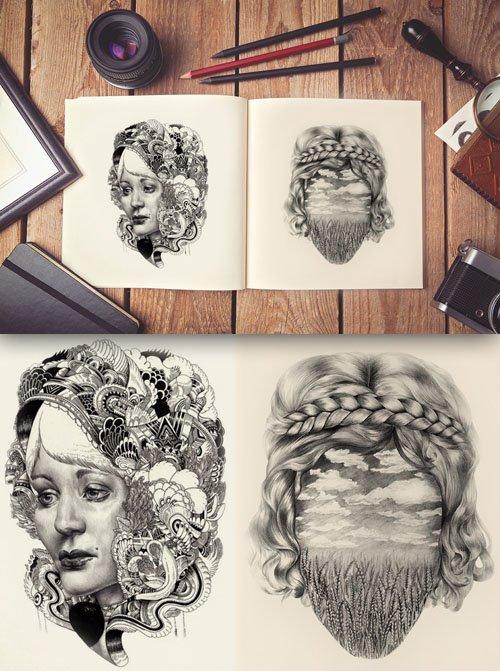 Artist Sketch Book PSD MockUp