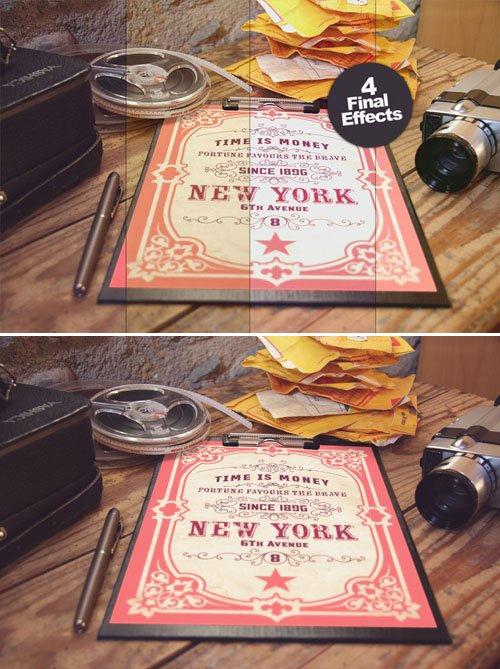 4 Different Vintage Photo Style Poster PSD Mockup