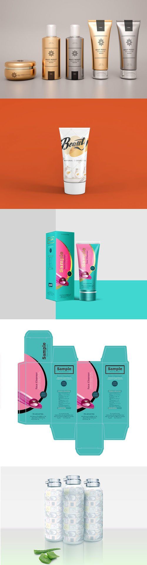 Cosmetic Product Design Packaging PSD Mockups