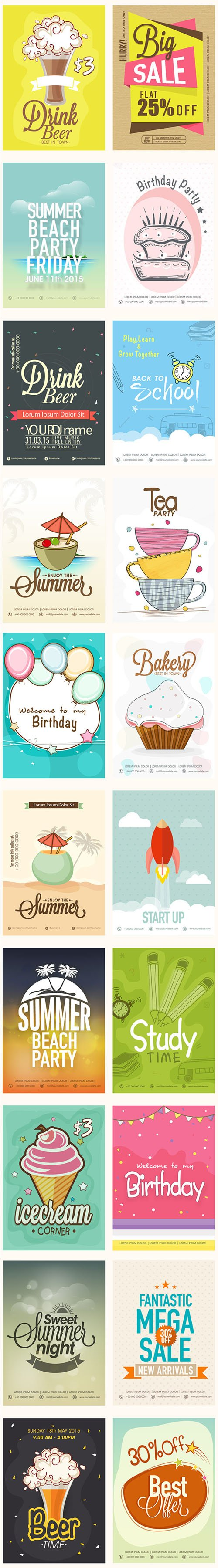 20 Printable Flyers Collection in Vector