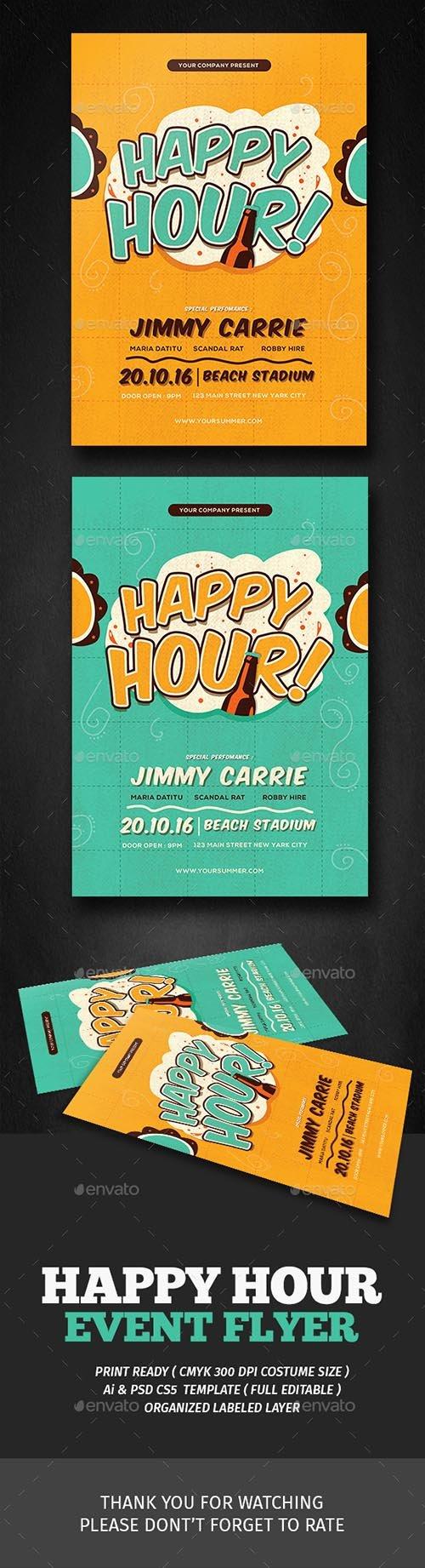 Retro Happy Hour Flyer 18007930