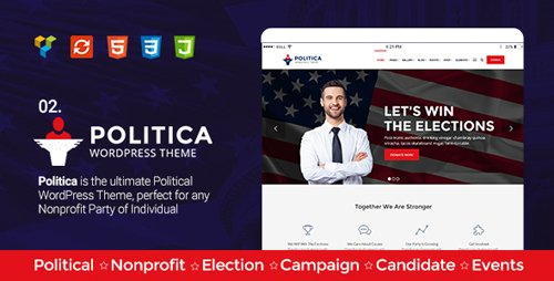 ThemeForest - Politica v1.6 - A Modern Political Party & Candidate WordPress Theme - 18710008