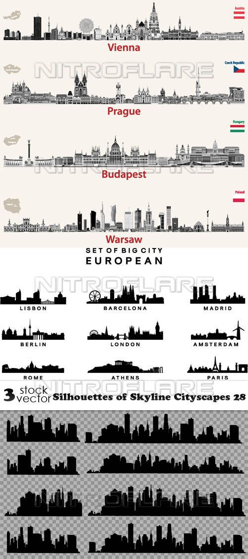 Vectors - Silhouettes of Skyline Cityscapes 28