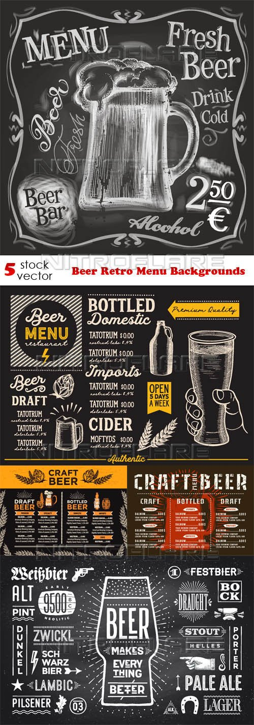 Vectors - Beer Retro Menu Backgrounds