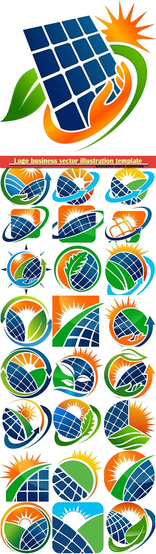 Nature solar energy logo business vector illustration template # 84