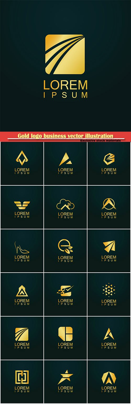 Gold logo business vector abstract illustration # 46