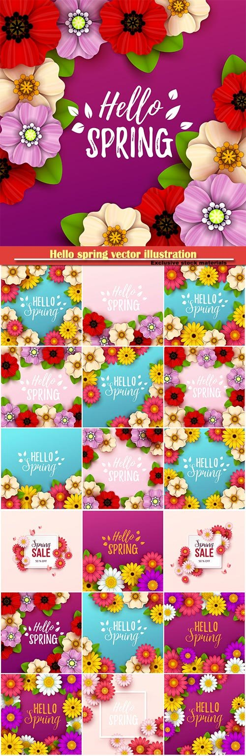 Hello spring vector illustration, Happy Women's Day, 8 March, spring flower # 2