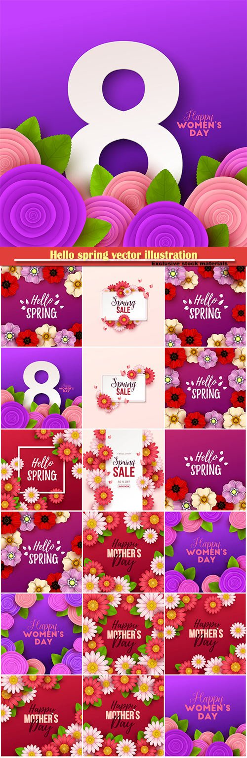 Hello spring vector illustration, Happy Women's Day, 8 March, spring flower # 3