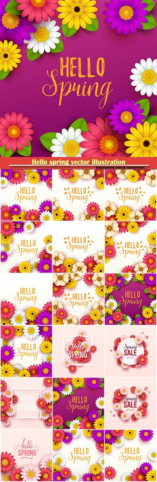 Hello spring vector illustration, Happy Women's Day, 8 March, spring flower