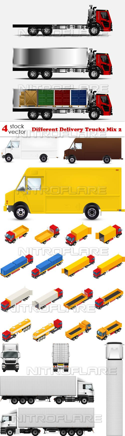 Vectors - Different Delivery Trucks Mix 2
