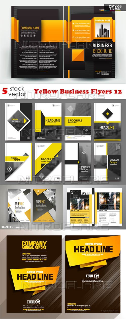 Vectors - Yellow Business Flyers 12