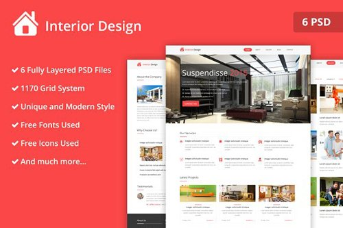 Interior Design Psd Website Template Cm 2296862 Nitrogfx Download Unique Graphics For