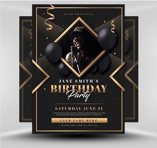 PSD Gold Deco Birthday Party Template