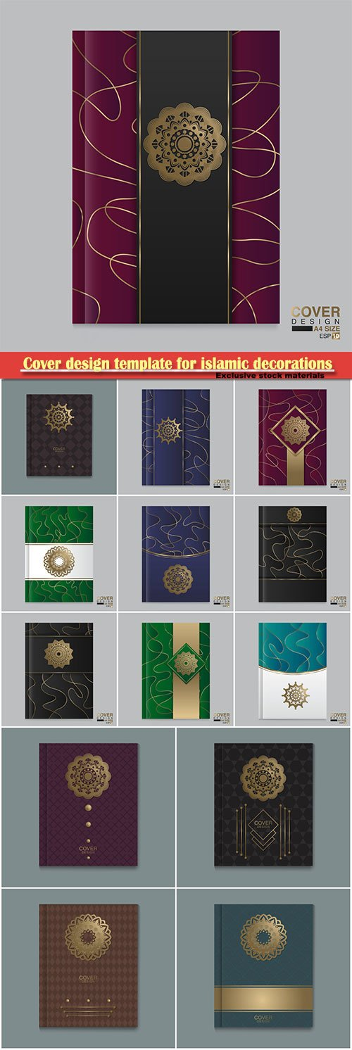 Cover design template for islamic decorations