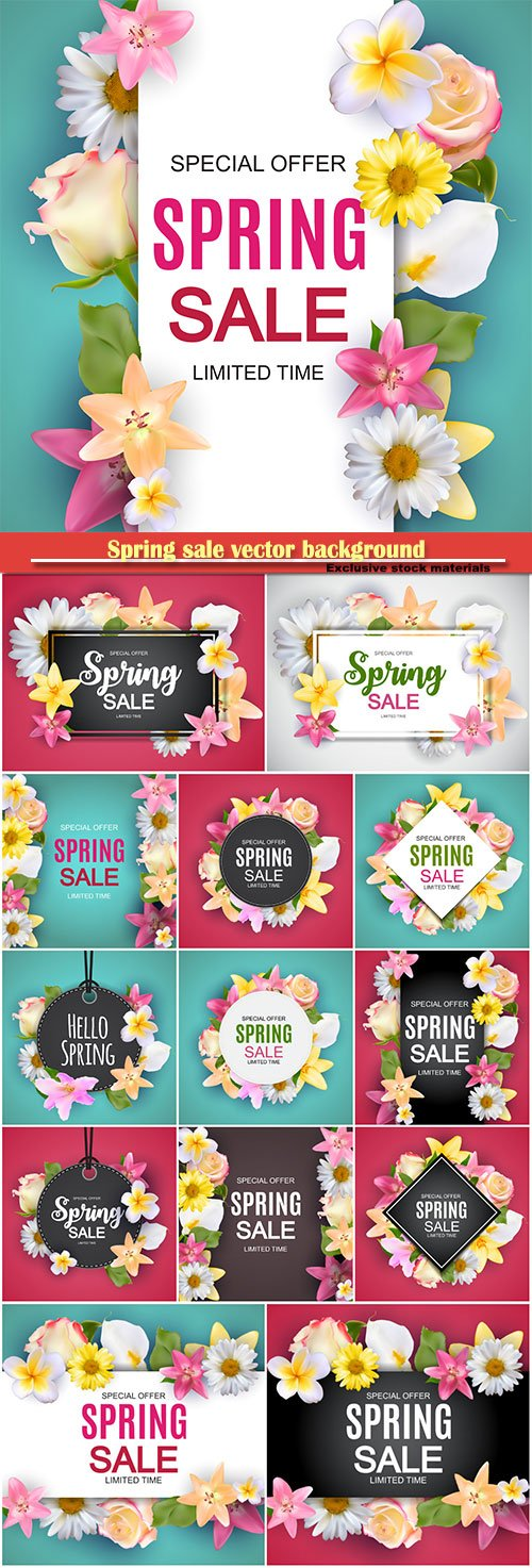 Spring sale vector background with colorful flower elements