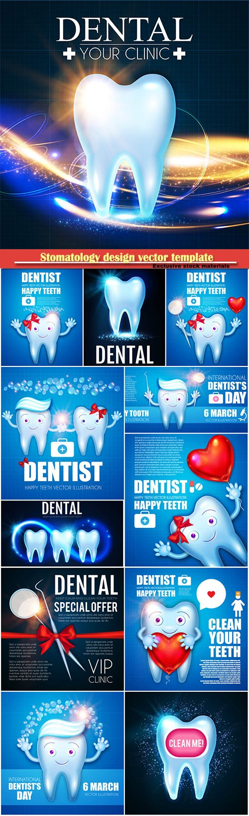 Stomatology design vector template, dental health concept