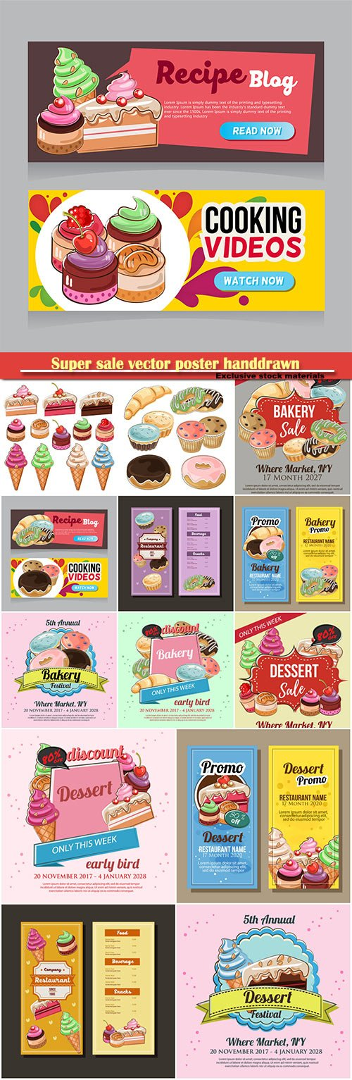 Super sale vector poster handdrawn, dessert theme and bakery