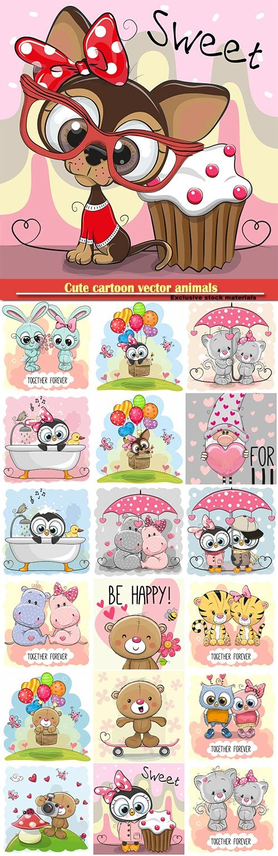 Cute cartoon vector animals, owls, puppy, bear, tigers